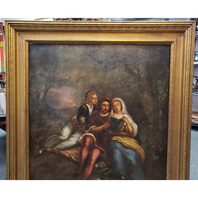 Up for sale is a Late 18th/Early 19th Century Italian School Man and Women Reading in Forest Oil Painting Set in a...