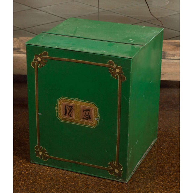 Large Scale Green Tin Bin, English circa 1880 For Sale - Image 4 of 7