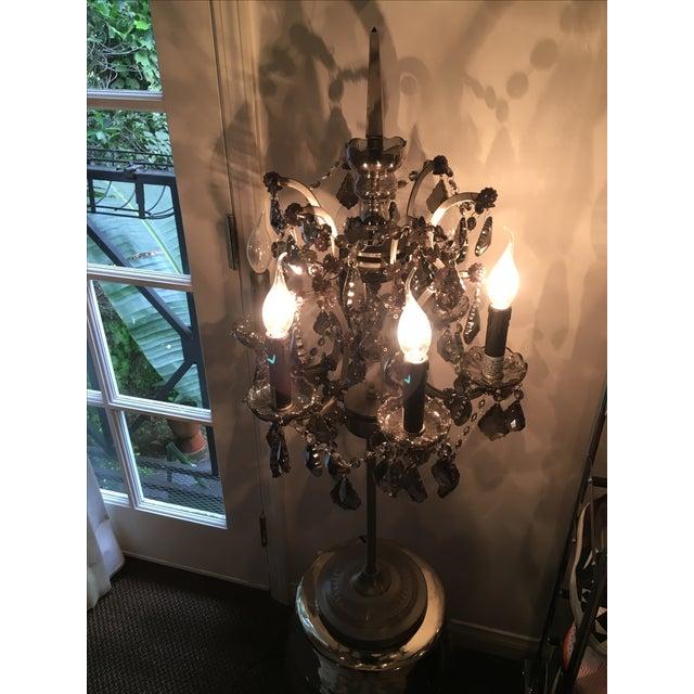 19th C. Rococo Iron & Smoke Crystal Table Lamp - Image 8 of 8