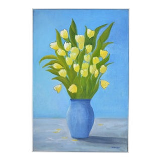 Yellow Tulips Oil Painting by Christine Frisbee For Sale