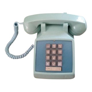 Vintage Turquoise Button Telephone Phone For Sale