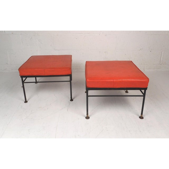 Pair of Mid-Century Modern Foot Stools For Sale - Image 4 of 11