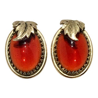 20th Century Whiting & Davis Gold & Amber Art Glass Earrings - a Pair For Sale