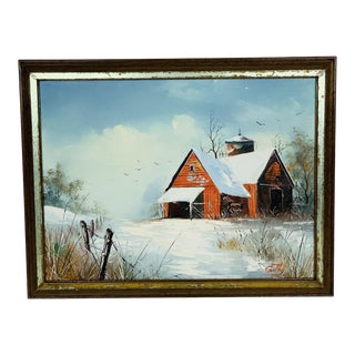 1980s Cabin Barn in Snowy Winter Woods Landscape Signed Oil Painting For Sale