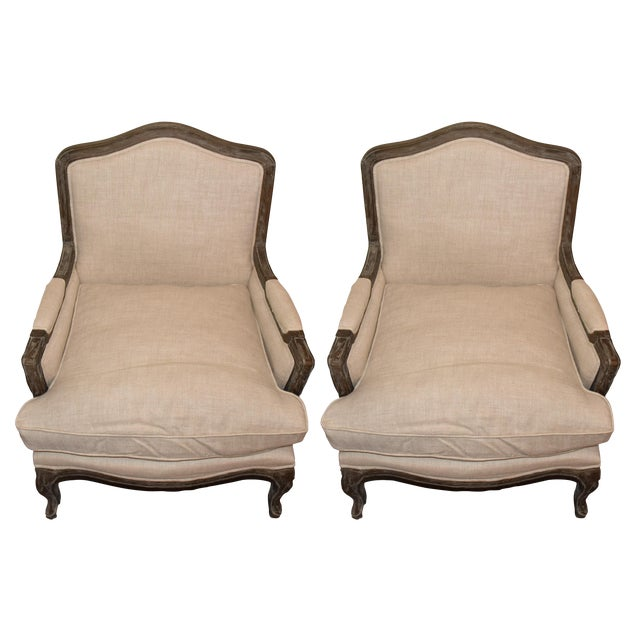 Restoration Hardware Belgian Linen & Wood Marseille Chairs - A Pair For Sale