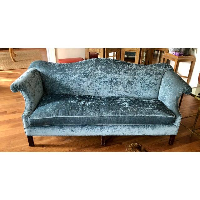 Antique Chippendale Camelback Blue Silk Velvet Down Filled Sofa