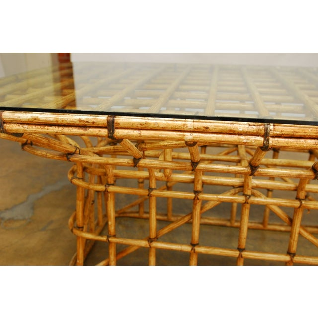 Mid-Century Architectural Bamboo Dining Table For Sale - Image 5 of 10