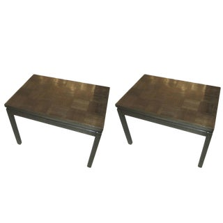 Pair of Cerused Oak Parquetry Tables For Sale