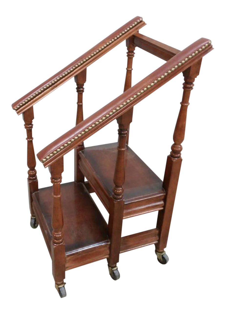 1980s British Mahogany Rolling Library Stairs For Sale