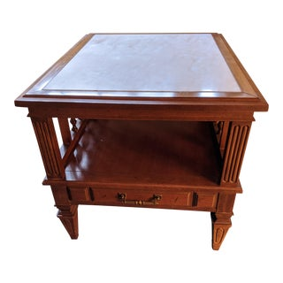 Vintage Mid-Century Italian Neoclassical Marble Top Side Table For Sale