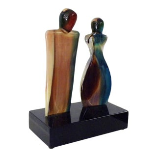 Vintage Mid Century Modern Art Glass Signed Sculpture For Sale