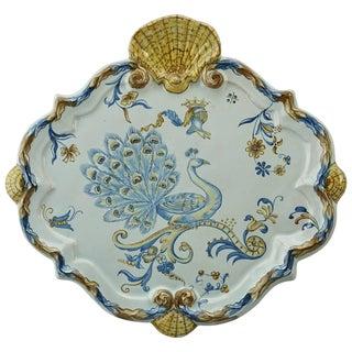 Emile Galle Faience Heraldic Peacock Platter, Circa 1890 For Sale