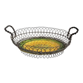 French Majolica Plate in Metal Basket For Sale