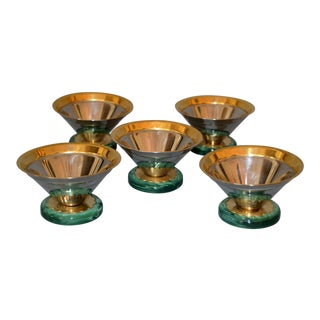 Art Deco Ice Cream Cups Signed Gottinghen 18-10 Design F. Tibaldo - Set of 5 For Sale