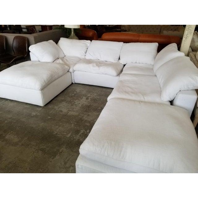 Modern Restoration Hardware Slipcovered Cloud Modular Sofa Sectional in White Linen For Sale - Image 3 of 7