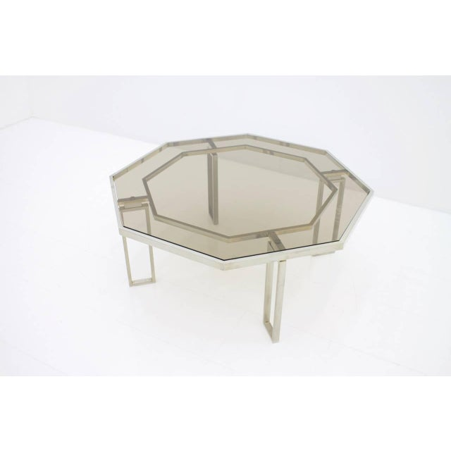1960s Octagonal Coffee Table With Metal Base and Glass Top, 1960s For Sale - Image 5 of 8