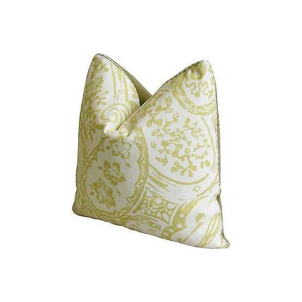 "Designer Lee Jofa Paisley & Mohair Feather/Down Pillows 21"" Square - Pair For Sale - Image 10 of 14"