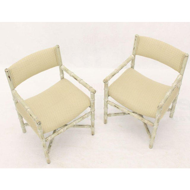 Faux Bamboo Pair of Distressed Finish Faux Bamboo Capitan Chairs With X Bases For Sale - Image 7 of 13