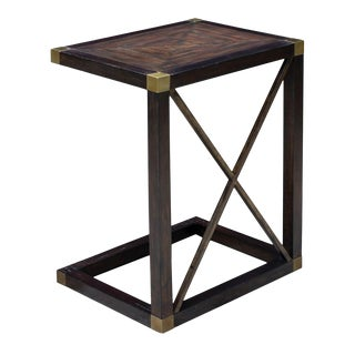 Campaign Style Wood Side Table