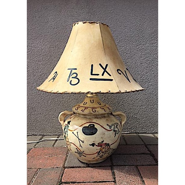 Tan Hand Painted Western Table Lamp For Sale - Image 8 of 8