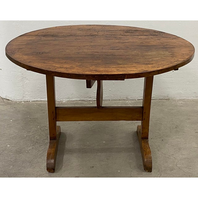 """19th Century French Tilt Top Tavern or Wine Table A classic french """"Vendange"""" wine tasting table. The table top tilts back..."""