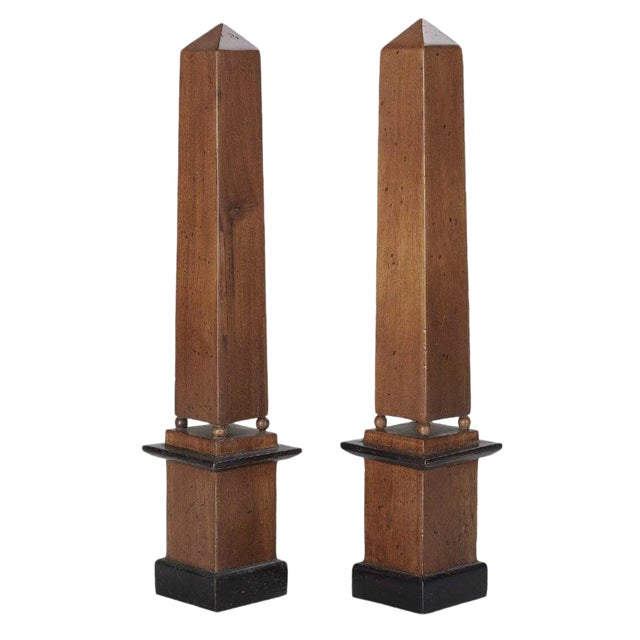 Antique Grand Tour Collection Wooden Tall Obelisks - a Pair