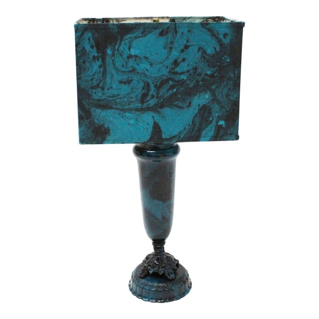 Transitional Marble Blue Table Lamp - Image 1 of 5
