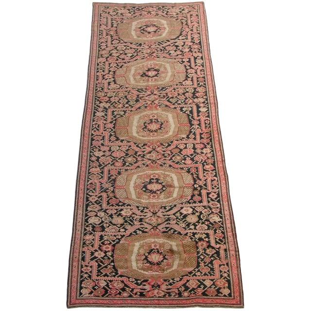 1900s Antique Karabagh Woolen Runner- 6′7″ × 19′5″ For Sale
