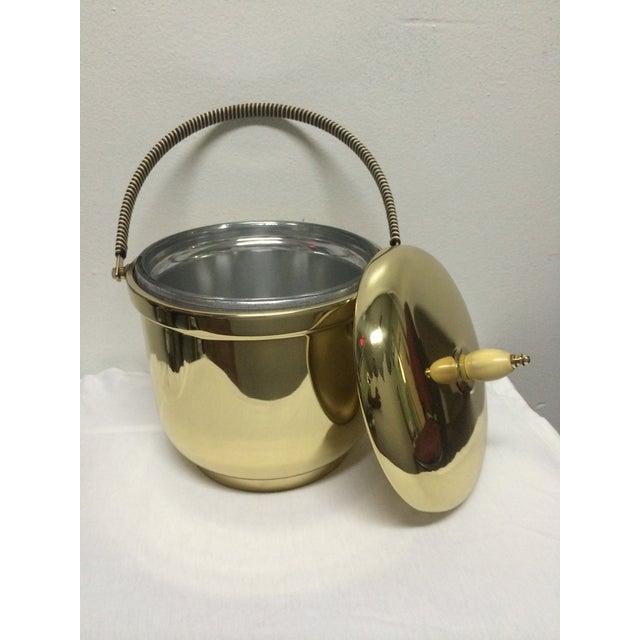 Mid-Century Modern Mercury Glass Brass Ice Bucket For Sale - Image 3 of 5