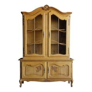 20th Century French Provincial Wood China Hutch For Sale