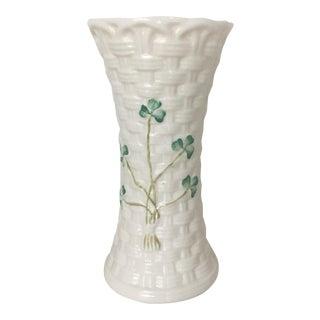 Beleek Basket Weave Vase With Green Clover From Ireland
