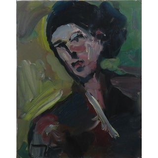 Jose Trujillo Original Expressionist Portrait Dark Haired Woman Oil Painting For Sale