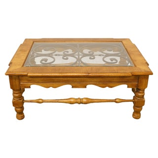 20th Century Italian Hekman Furniture Tuscan Glass Top Coffee Table For Sale