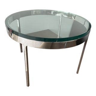 1960s Nicos Zographos Low Circular Chrome Finish Glass Side Table For Sale