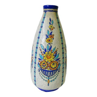 1930s Charles Catteau Boch Freres Grès Keramis Vase For Sale