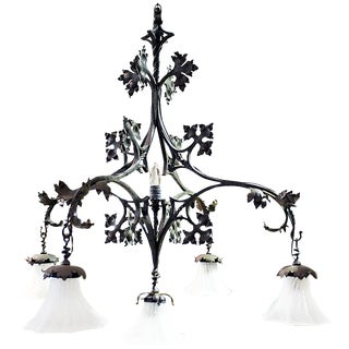 French Wrought Iron Chandelier by F. Marrou For Sale