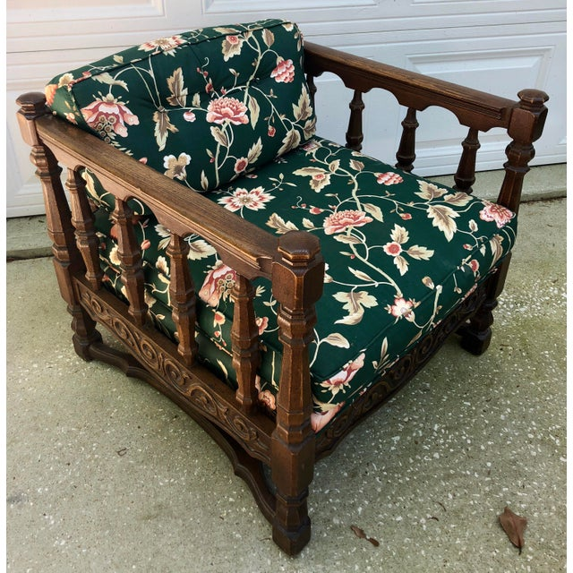 Mid-Century Floral Upholstered Wooden Cube Chair For Sale - Image 12 of 12