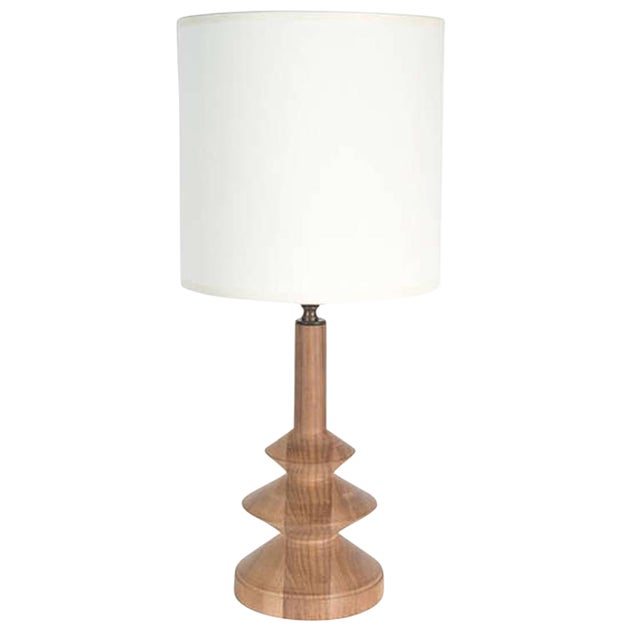 Customizable Minor Turned Walnut Table Lamp For Sale