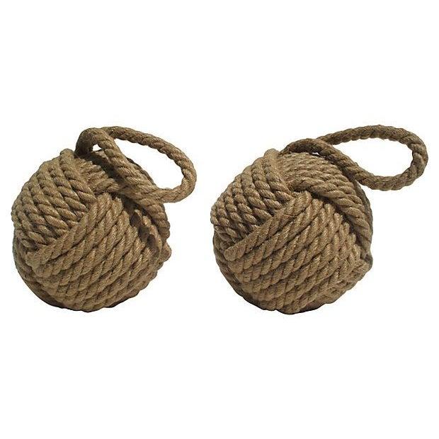 Jute Knot Balls - A Pair - Image 1 of 2