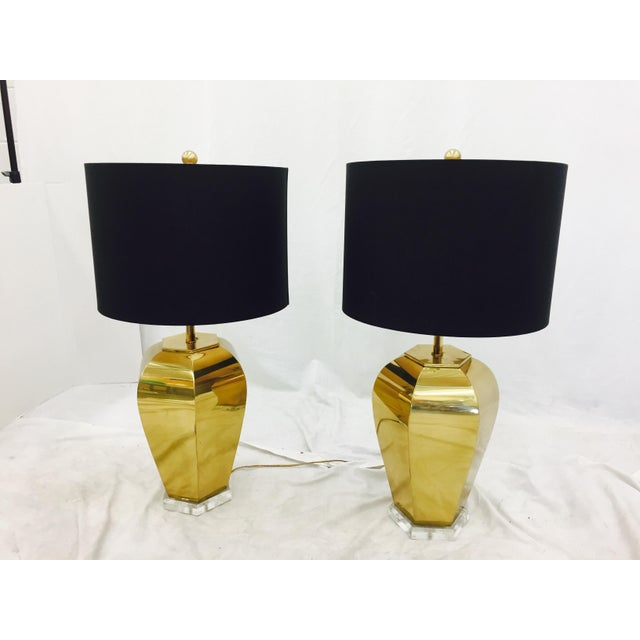 Vintage Brass & Lucite Base Lamps - Image 7 of 10