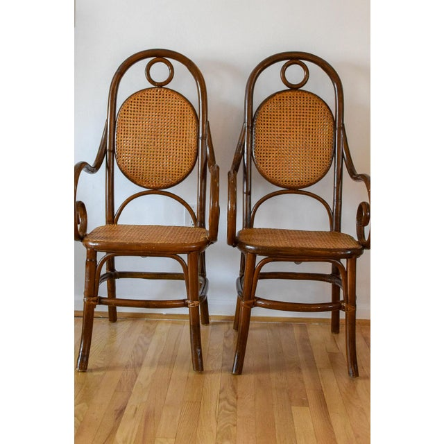 Pair of two beautiful Thonet bentwood cane chairs.