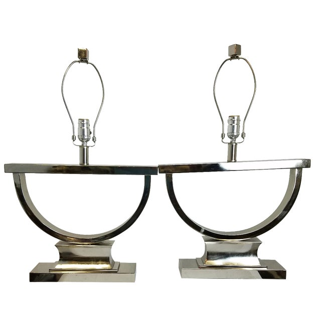 Chrome Modern U-Shaped Lamps - A Pair - Image 1 of 5