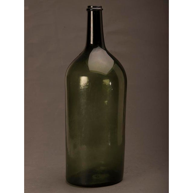 French Tall green glass hand blown bottle from France c.1870 For Sale - Image 3 of 7