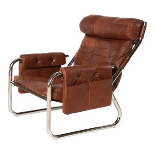 Cognac Leather and Chrome Lounge Chair With Pockets