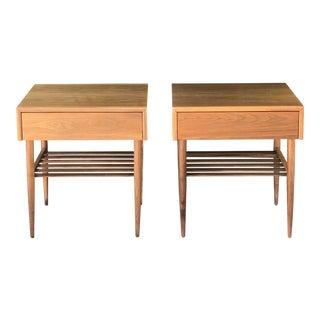 Pair of Walnut Nightstands by Brown Saltman
