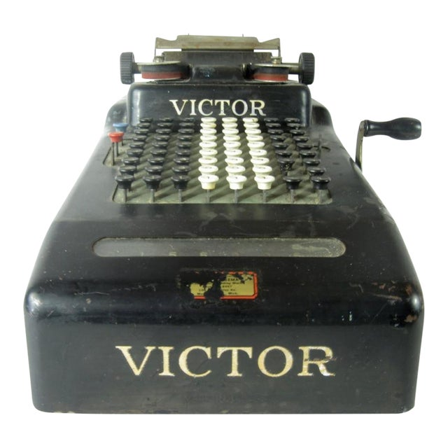 Victor Hand Crank Adding Machine For Sale