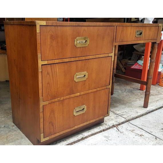Mid-Century Dixie Campaign Style Desk For Sale In Raleigh - Image 6 of 7