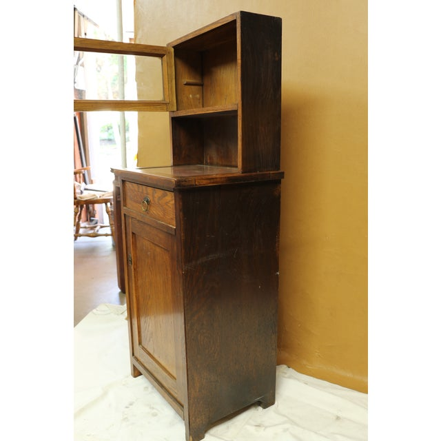 Antique American Two-Part Step Back Cupboard With Hutch For Sale - Image 10 of 13