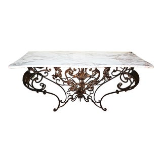 1970s Rococo Wrought Iron Marble Top Console Table For Sale