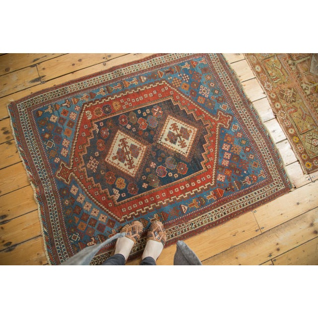 """Antique Afshar Square Rug- 3'6"""" x 4'5"""" - Image 2 of 7"""
